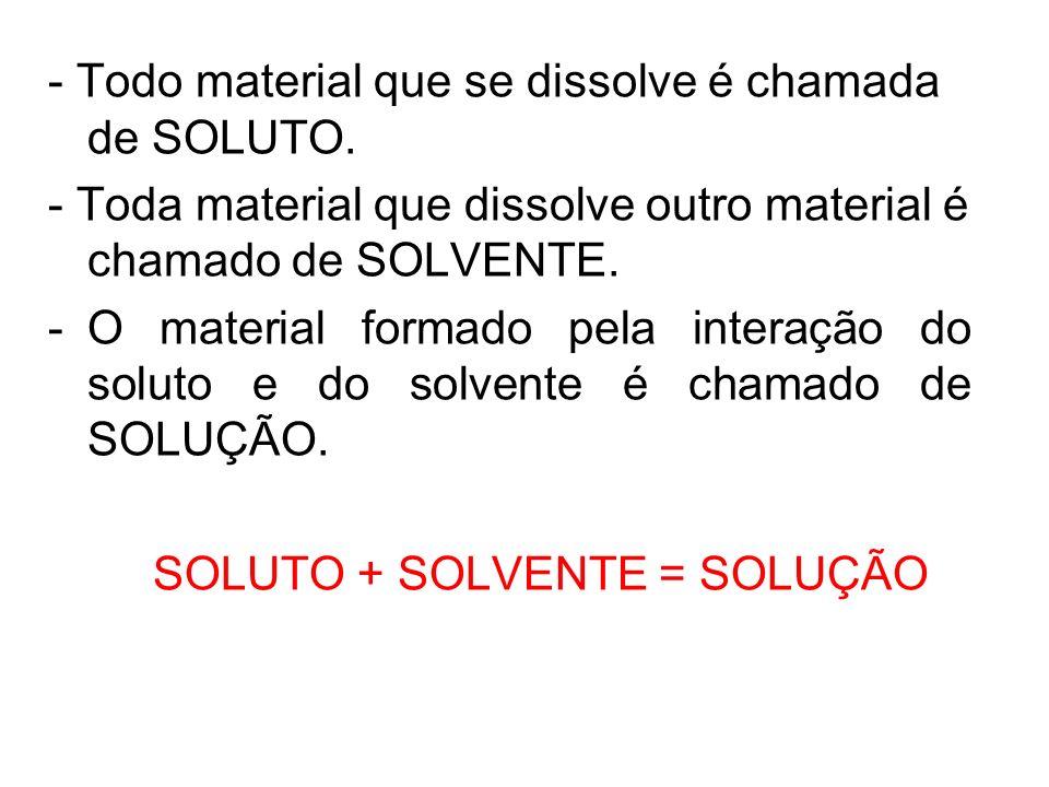 - Todo material que se dissolve é chamada de SOLUTO.