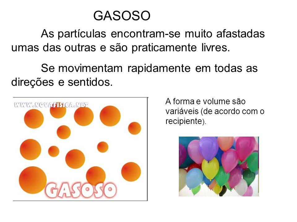 GASOSO As partículas encontram-se muito afastadas umas das outras e são praticamente livres.
