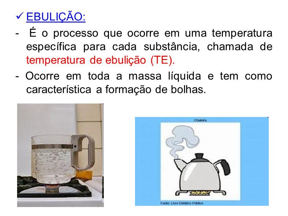 EBULIÇÃO: - É o processo que ocorre em uma temperatura específica para cada substância, chamada de temperatura de ebulição (TE).