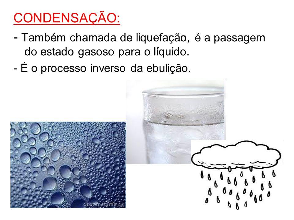 CONDENSAÇÃO: - Também chamada de liquefação, é a passagem do estado gasoso para o líquido.