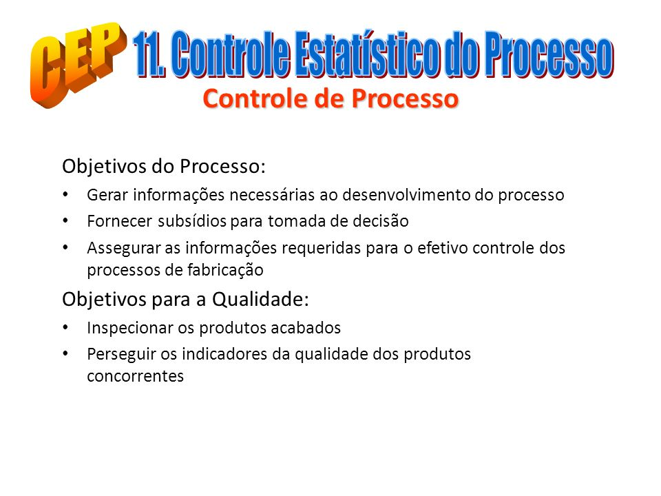 11. Controle Estatístico do Processo