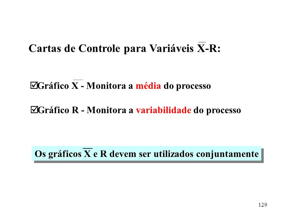 Cartas de Controle para Variáveis X-R: