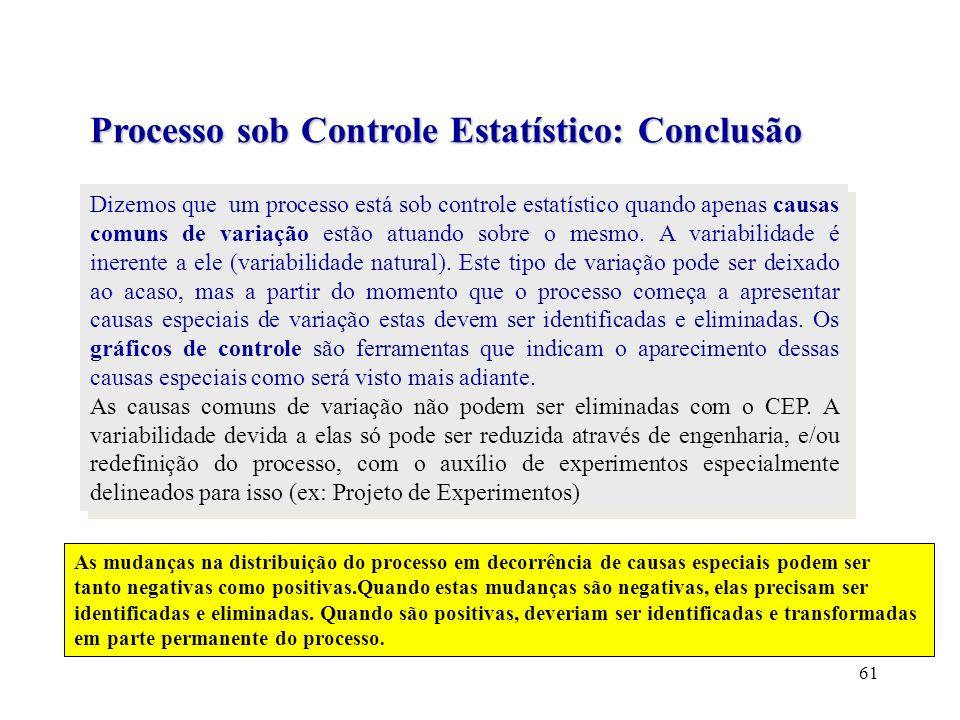 Processo sob Controle Estatístico: Conclusão