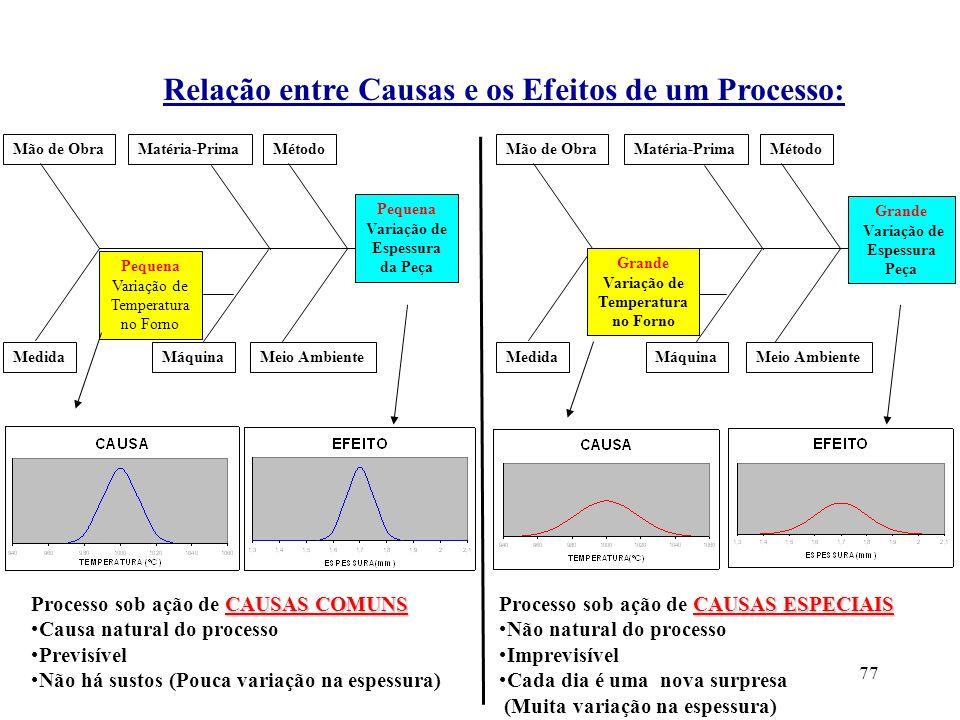 Relação entre Causas e os Efeitos de um Processo: