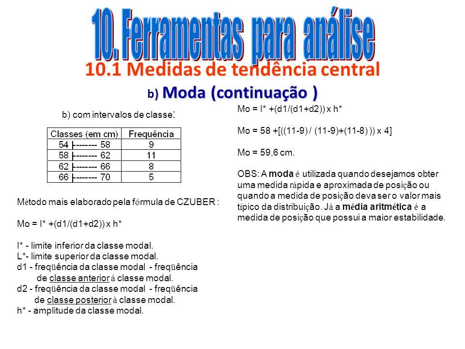 10.1 Medidas de tendência central b) Moda (continuação )
