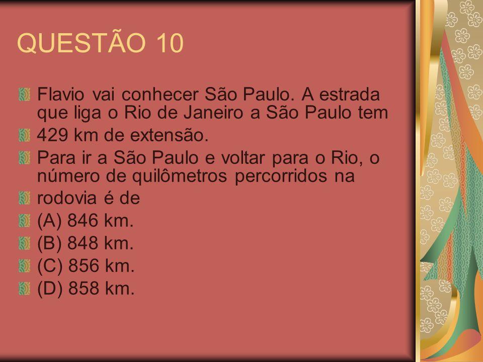 QUESTÃO 10 Flavio vai conhecer São Paulo. A estrada que liga o Rio de Janeiro a São Paulo tem. 429 km de extensão.