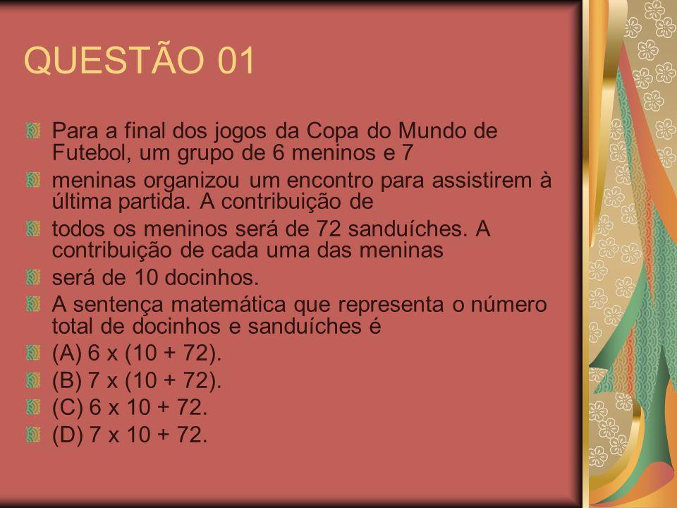 QUESTÃO 01 Para a final dos jogos da Copa do Mundo de Futebol, um grupo de 6 meninos e 7.