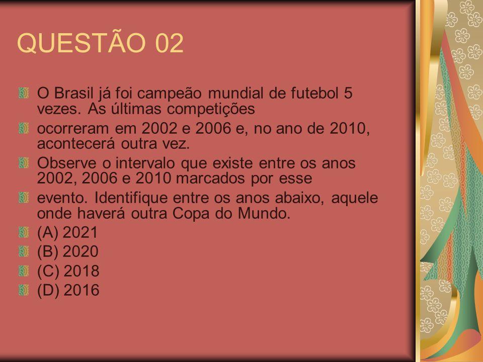 QUESTÃO 02 O Brasil já foi campeão mundial de futebol 5 vezes. As últimas competições.