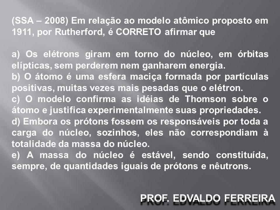(SSA – 2008) Em relação ao modelo atômico proposto em 1911, por Rutherford, é CORRETO afirmar que