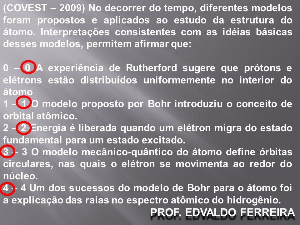 (COVEST – 2009) No decorrer do tempo, diferentes modelos foram propostos e aplicados ao estudo da estrutura do átomo. Interpretações consistentes com as idéias básicas desses modelos, permitem afirmar que: