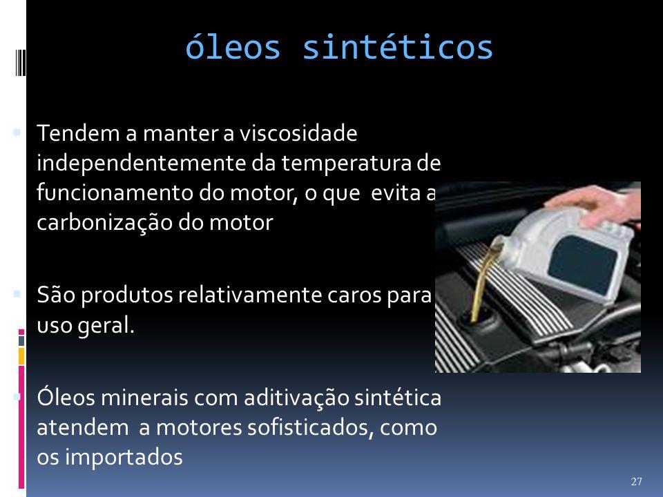 óleos sintéticosTendem a manter a viscosidade independentemente da temperatura de funcionamento do motor, o que evita a carbonização do motor.