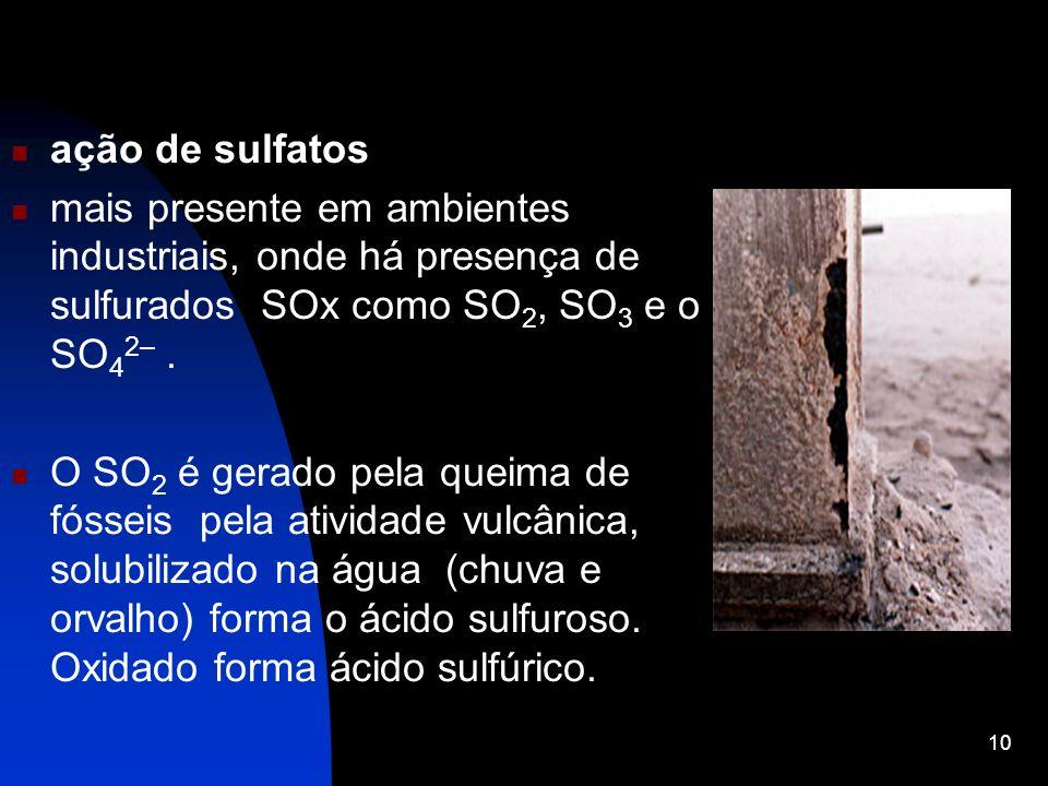 ação de sulfatos mais presente em ambientes industriais, onde há presença de sulfurados SOx como SO2, SO3 e o SO42– .