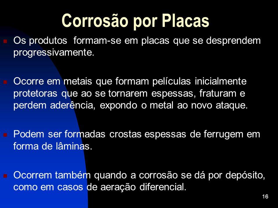 Corrosão por PlacasOs produtos formam-se em placas que se desprendem progressivamente.