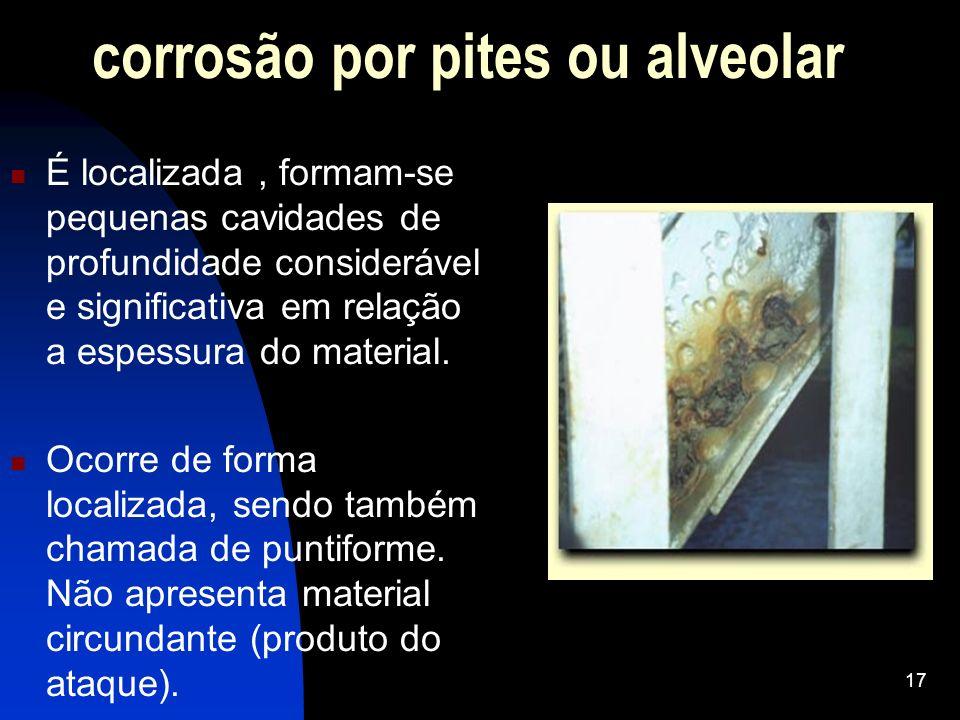 corrosão por pites ou alveolar