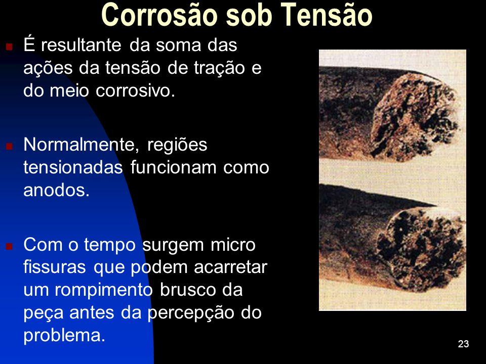 Corrosão sob TensãoÉ resultante da soma das ações da tensão de tração e do meio corrosivo. Normalmente, regiões tensionadas funcionam como anodos.