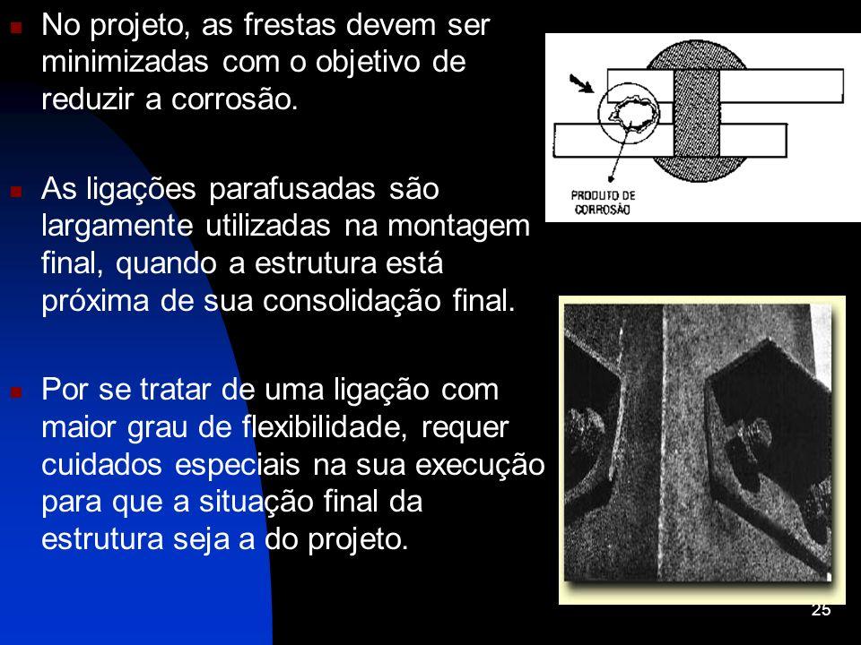 No projeto, as frestas devem ser minimizadas com o objetivo de reduzir a corrosão.