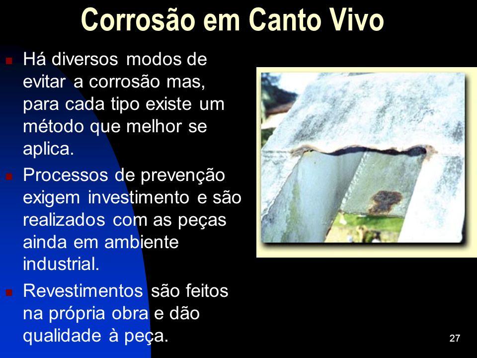 Corrosão em Canto Vivo Há diversos modos de evitar a corrosão mas, para cada tipo existe um método que melhor se aplica.