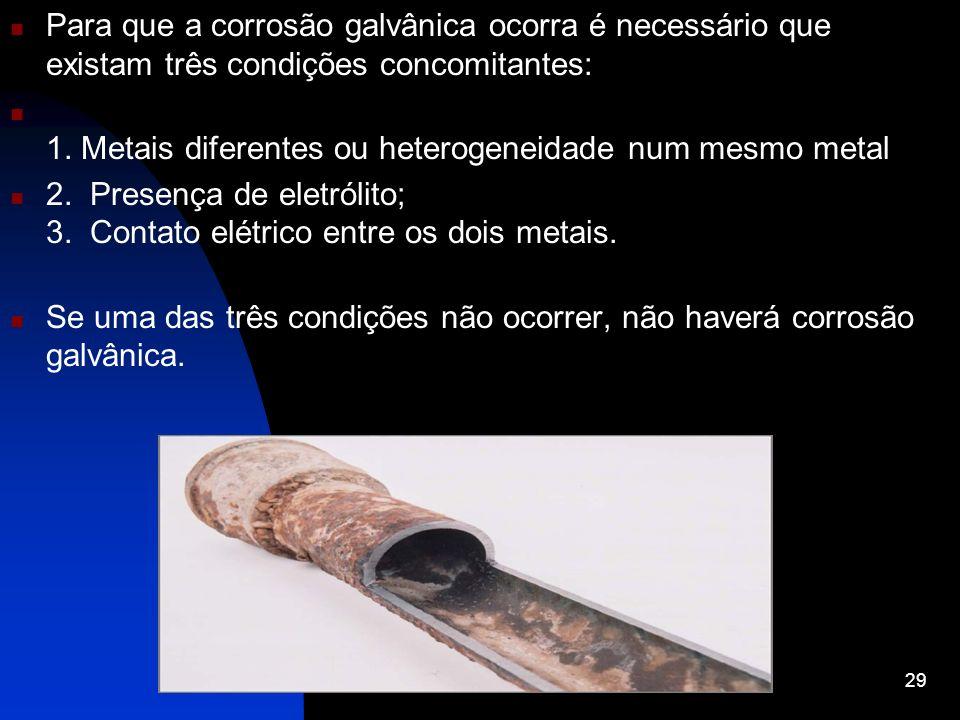 Para que a corrosão galvânica ocorra é necessário que existam três condições concomitantes: