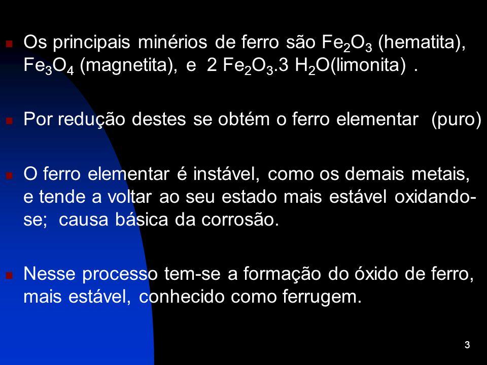 Os principais minérios de ferro são Fe2O3 (hematita), Fe3O4 (magnetita), e 2 Fe2O3.3 H2O(limonita) .