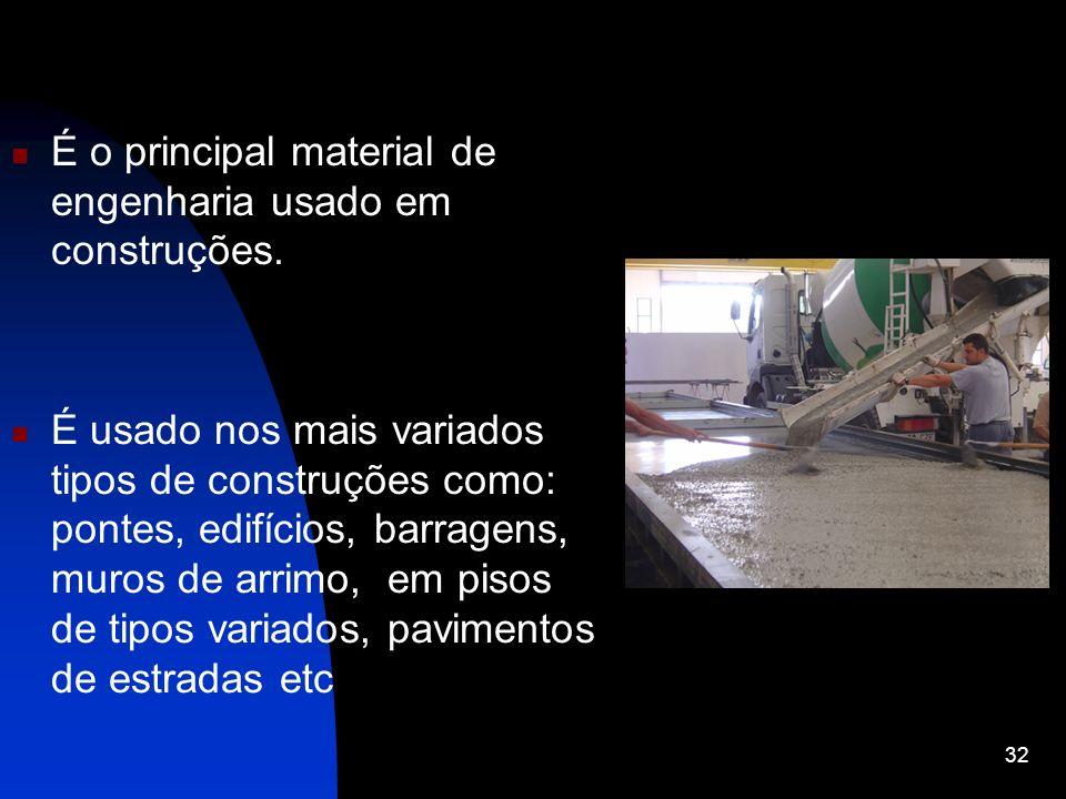 É o principal material de engenharia usado em construções.