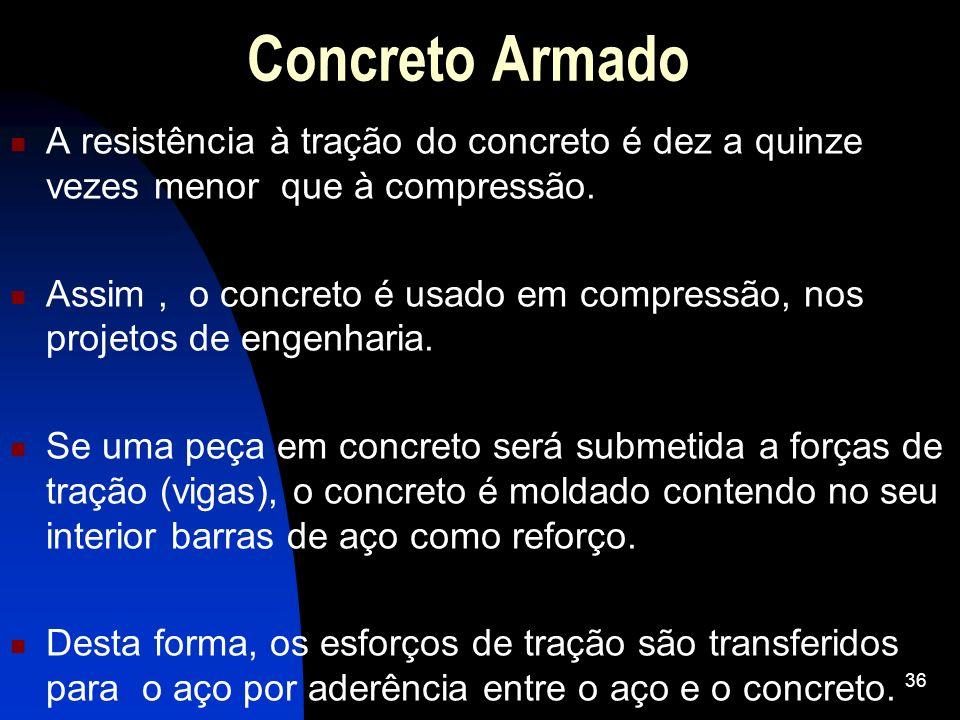 Concreto ArmadoA resistência à tração do concreto é dez a quinze vezes menor que à compressão.