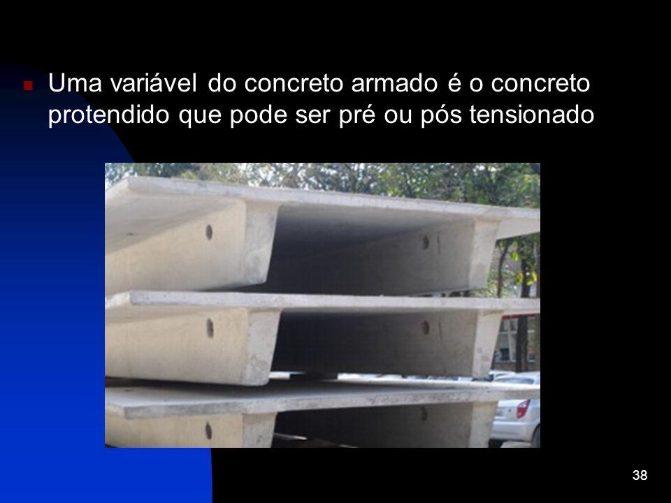 Uma variável do concreto armado é o concreto protendido que pode ser pré ou pós tensionado