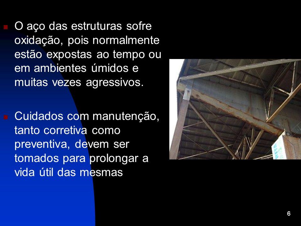 O aço das estruturas sofre oxidação, pois normalmente estão expostas ao tempo ou em ambientes úmidos e muitas vezes agressivos.