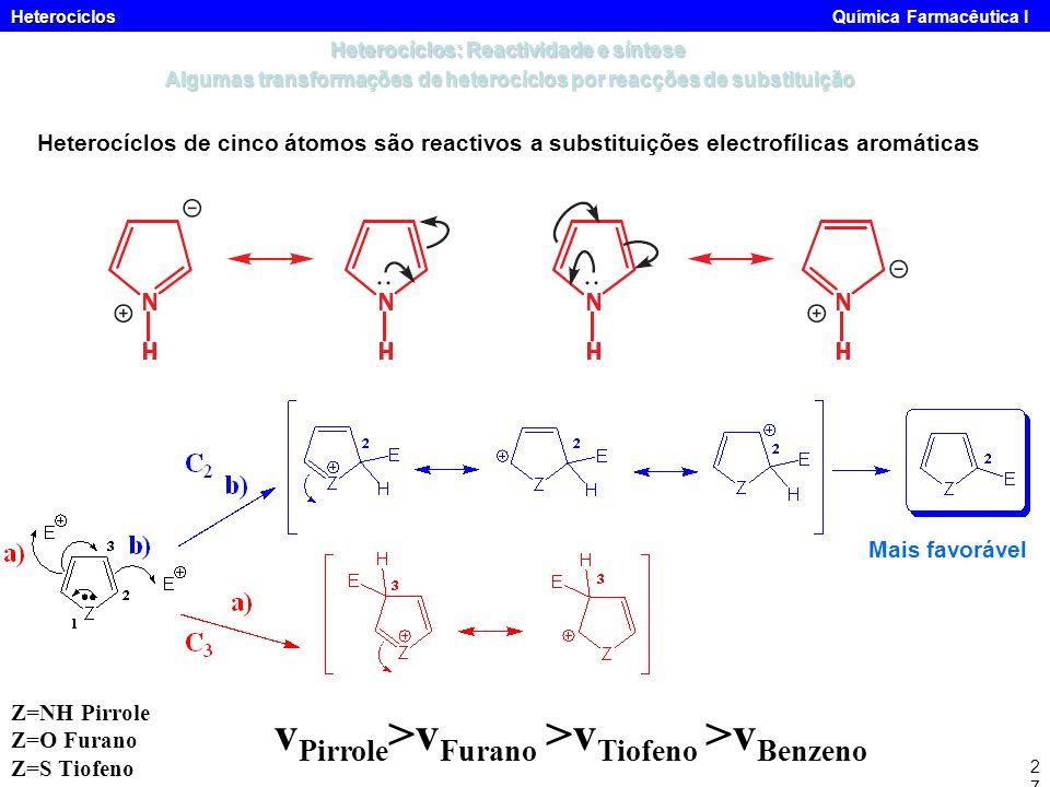 vPirrole>vFurano >vTiofeno >vBenzeno