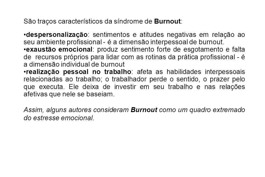 São traços característicos da síndrome de Burnout: