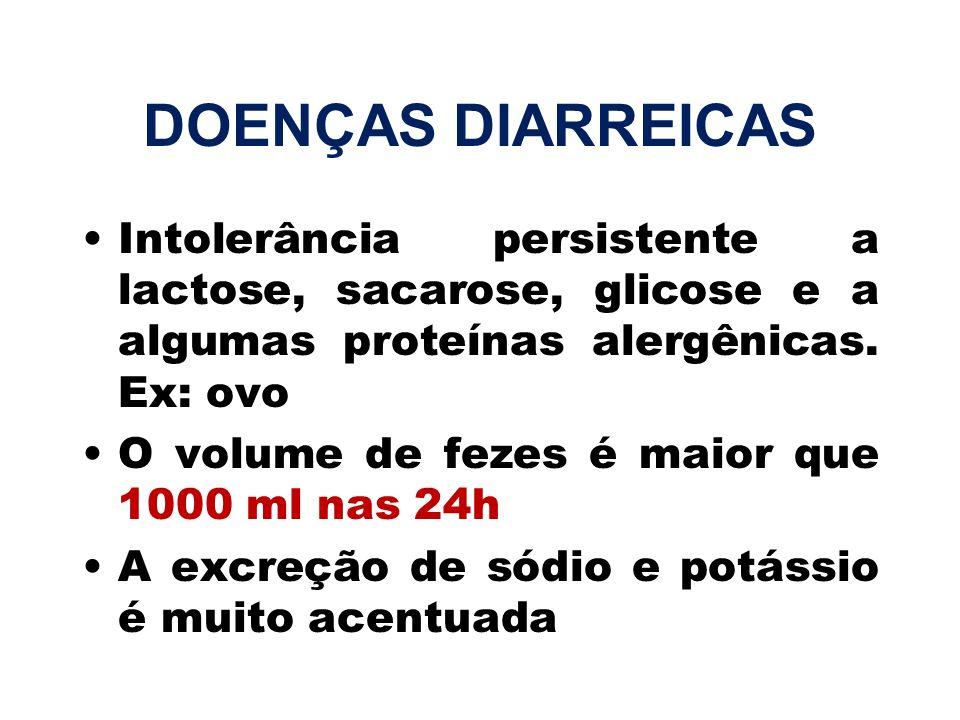 DOENÇAS DIARREICASIntolerância persistente a lactose, sacarose, glicose e a algumas proteínas alergênicas. Ex: ovo.