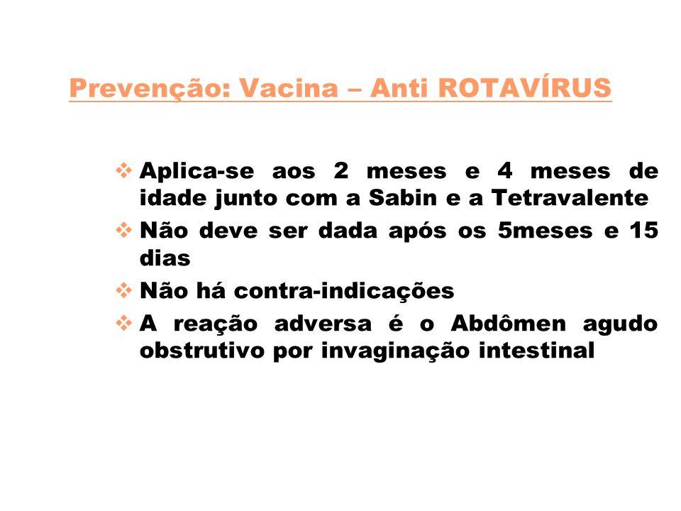Prevenção: Vacina – Anti ROTAVÍRUS