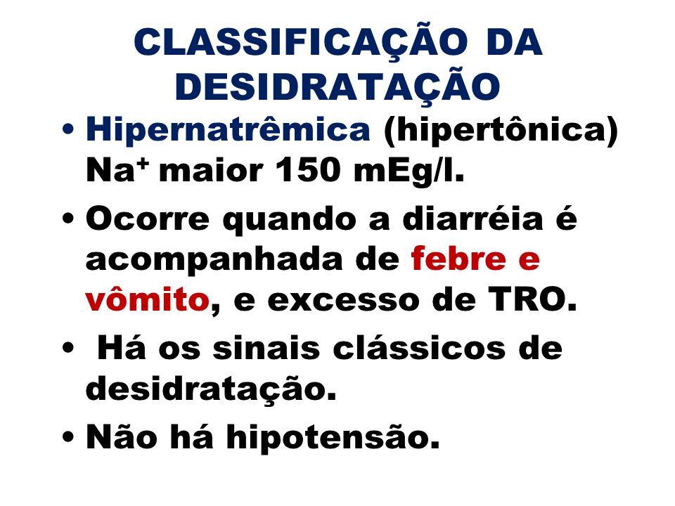 CLASSIFICAÇÃO DA DESIDRATAÇÃO