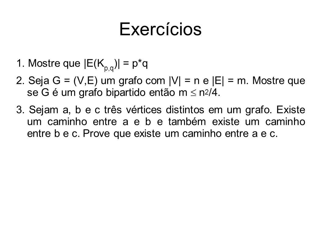 Exercícios 1. Mostre que |E(Kp,q)| = p*q