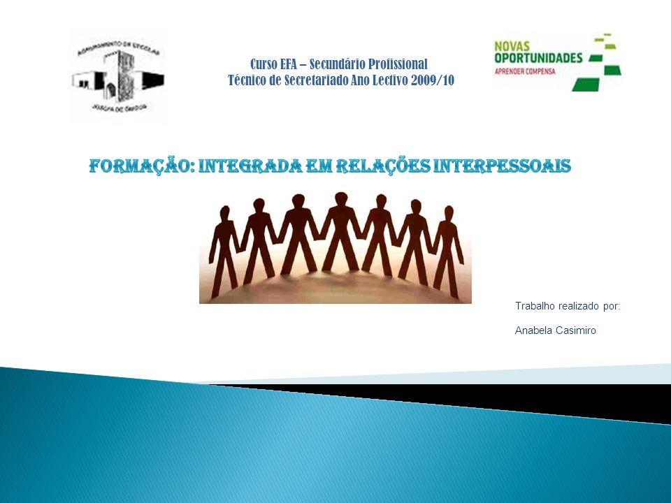 FORMAÇÃO: integrada em RELAÇÕES INTERPESSOAIS