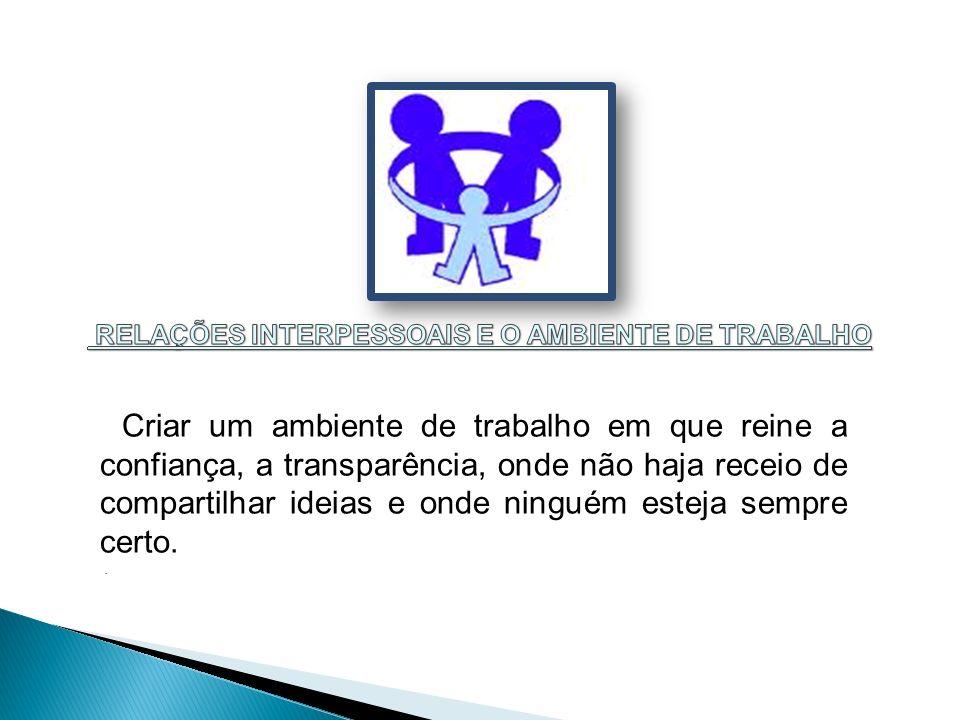 RELAÇÕES INTERPESSOAIS E O AMBIENTE DE TRABALHO