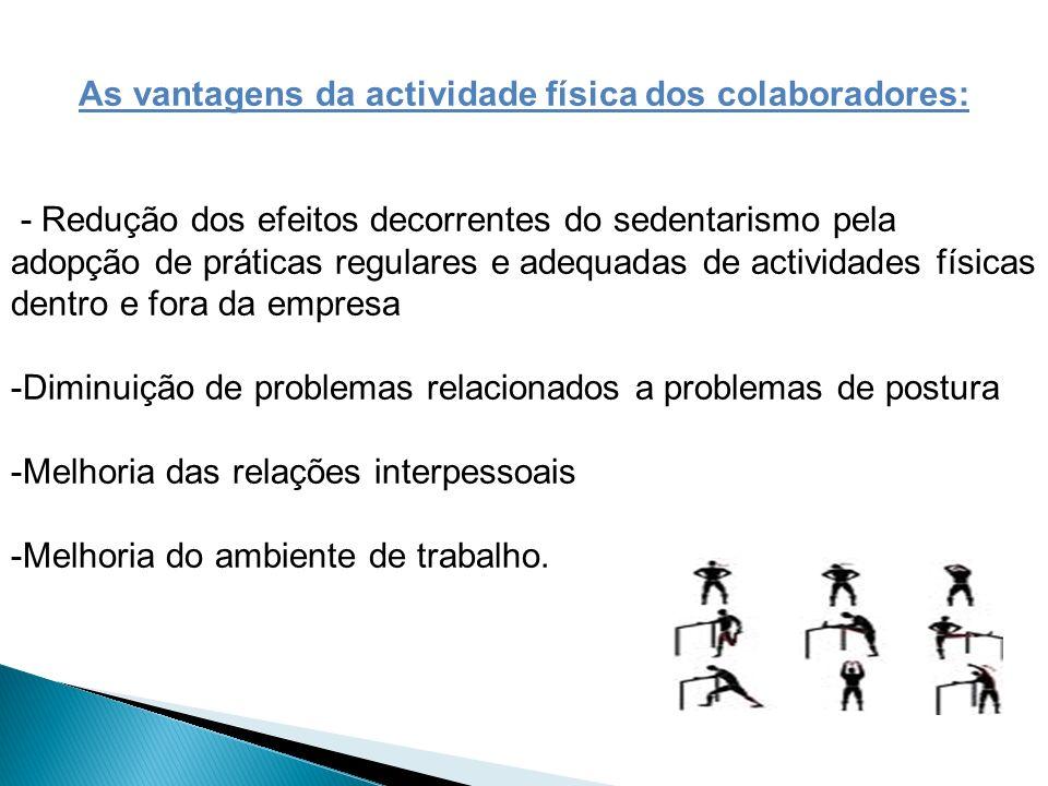 As vantagens da actividade física dos colaboradores: