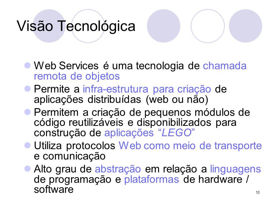 Visão Tecnológica Web Services é uma tecnologia de chamada remota de objetos.