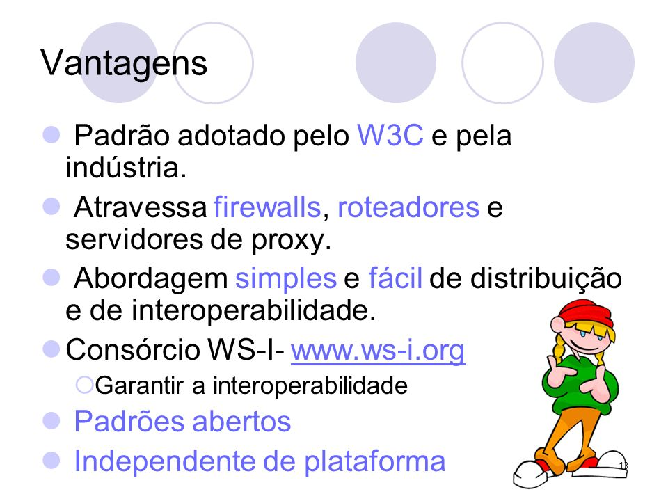 Vantagens Padrão adotado pelo W3C e pela indústria.