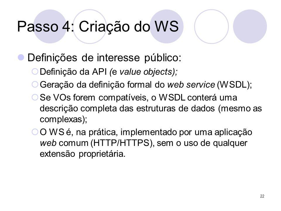 Passo 4: Criação do WS Definições de interesse público: