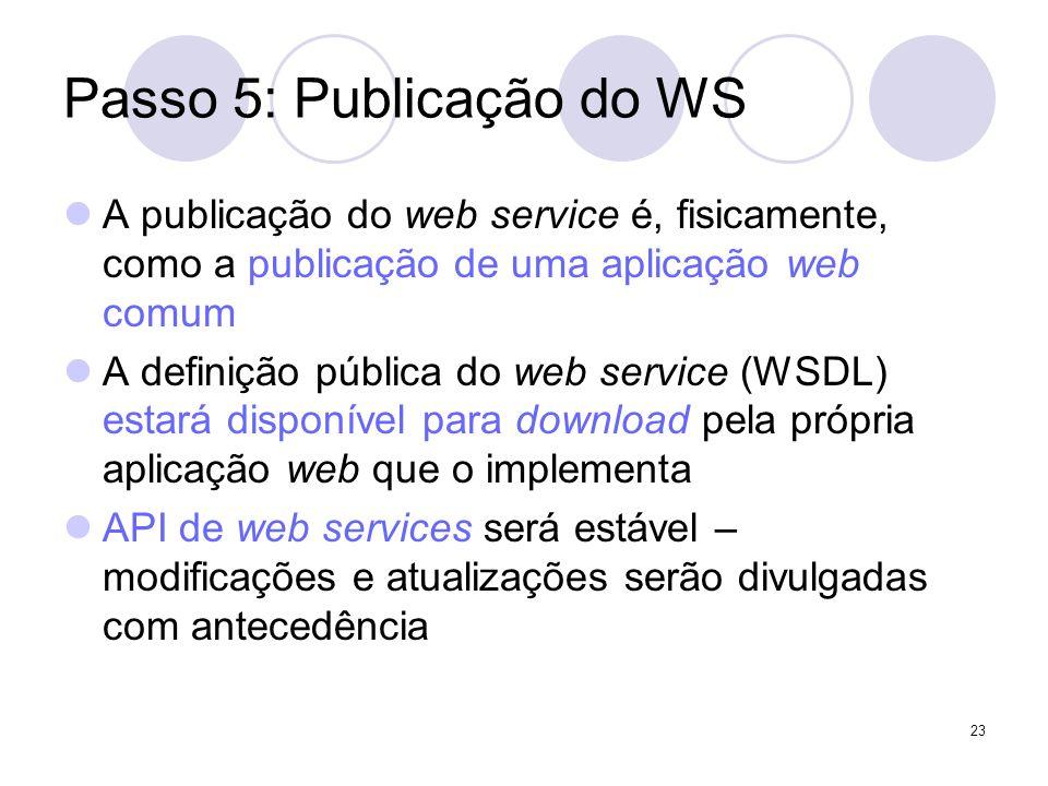 Passo 5: Publicação do WS