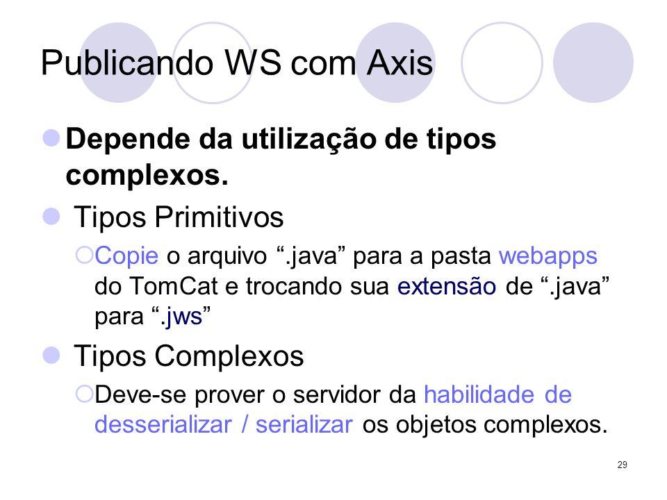Publicando WS com Axis Depende da utilização de tipos complexos.