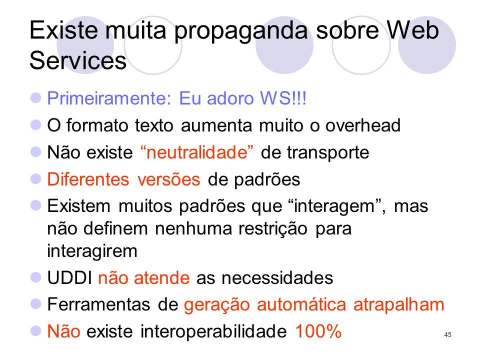 Existe muita propaganda sobre Web Services