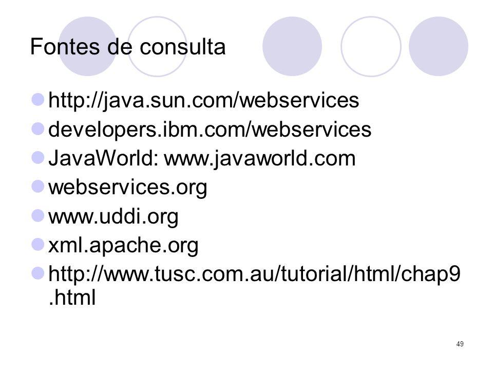 Fontes de consulta http://java.sun.com/webservices