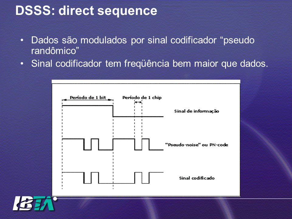 DSSS: direct sequenceDados são modulados por sinal codificador pseudo randômico Sinal codificador tem freqüência bem maior que dados.
