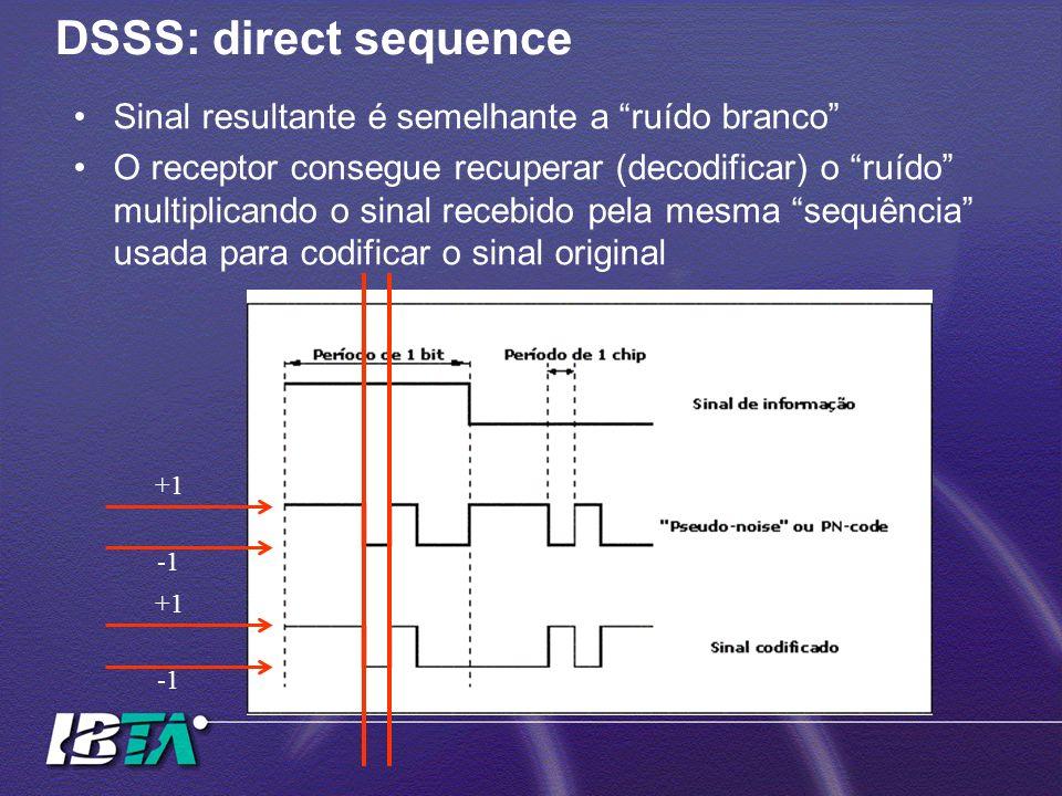 DSSS: direct sequence Sinal resultante é semelhante a ruído branco