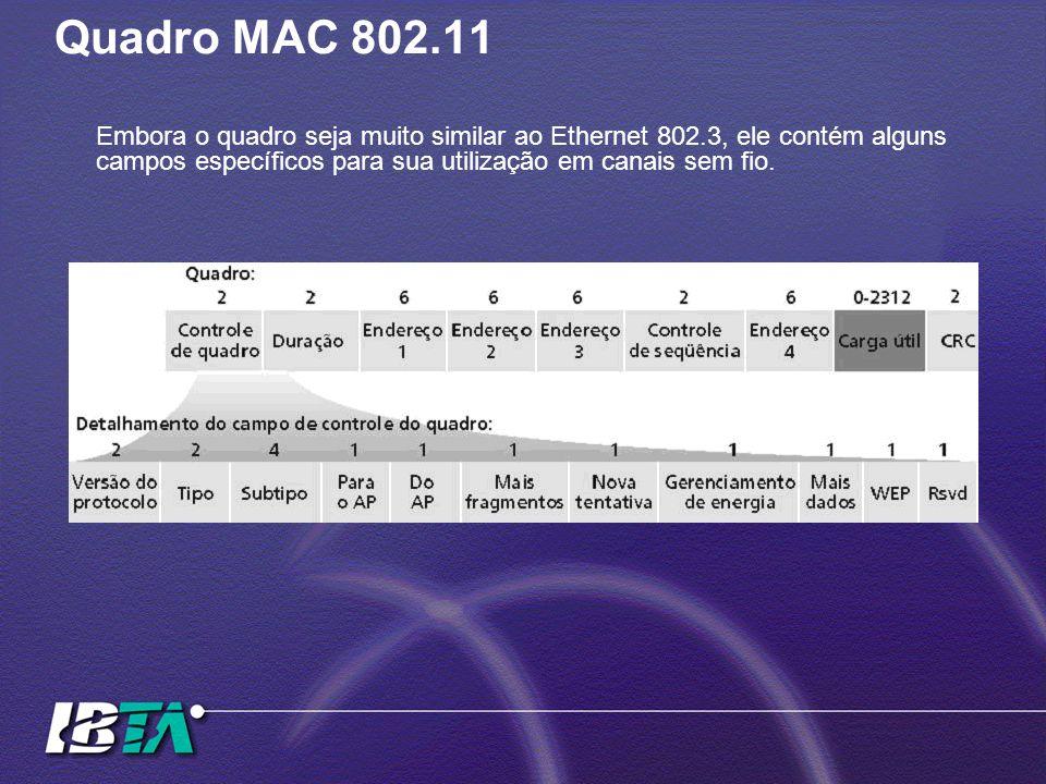 Quadro MAC 802.11Embora o quadro seja muito similar ao Ethernet 802.3, ele contém alguns campos específicos para sua utilização em canais sem fio.