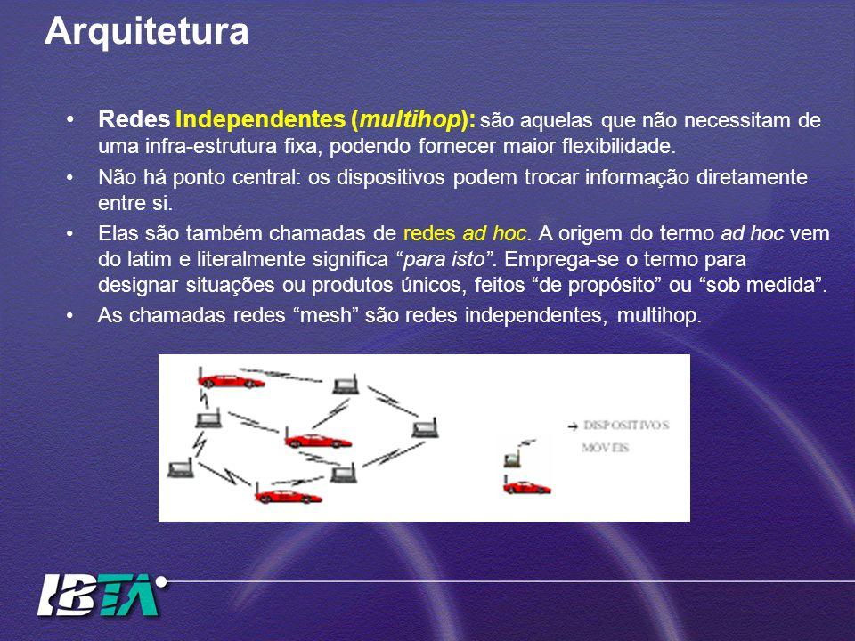 Arquitetura Redes Independentes (multihop): são aquelas que não necessitam de uma infra-estrutura fixa, podendo fornecer maior flexibilidade.