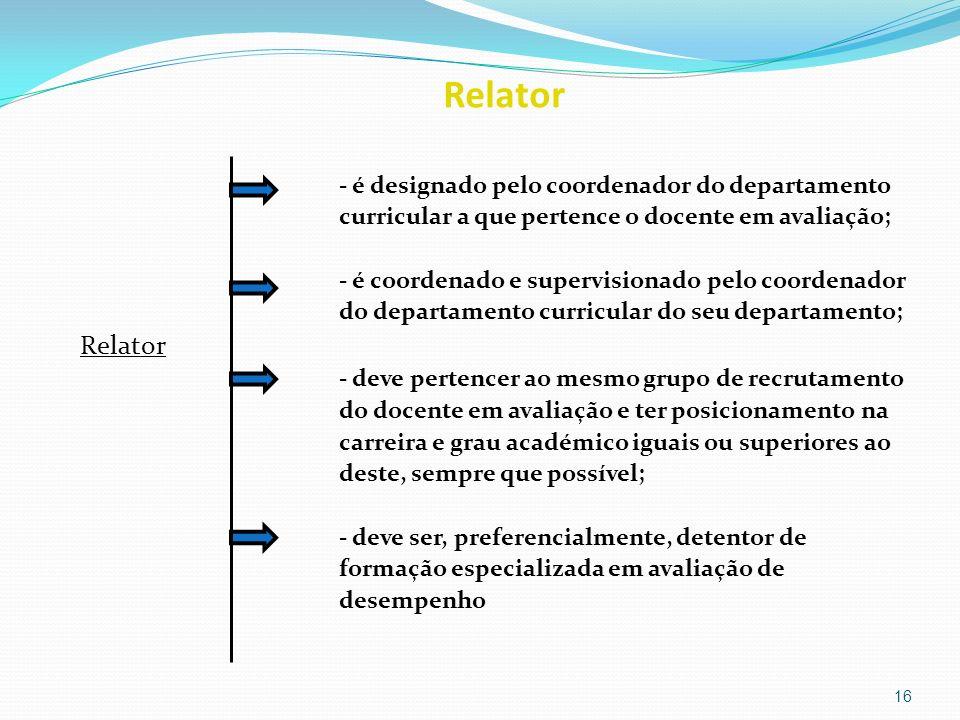 Relator Relator - é designado pelo coordenador do departamento