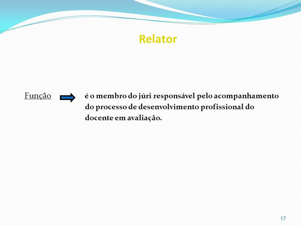 Relator Função é o membro do júri responsável pelo acompanhamento