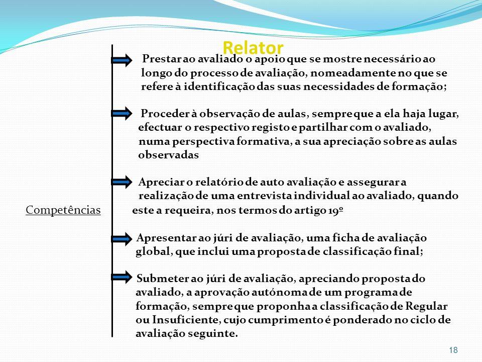 Relator Competências este a requeira, nos termos do artigo 19º
